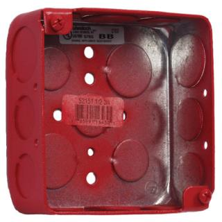 """Surface backbox, 4x4x1.5"""", red"""