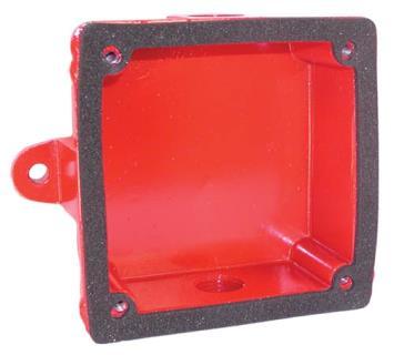 "Backbox, weatherproof, 4.33"" square, red"